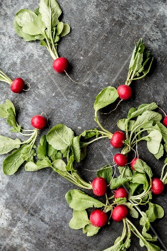 Radishes on a grey surface