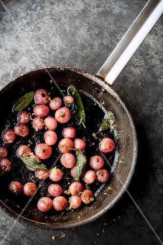 Fried radishes with sage and lemon zest