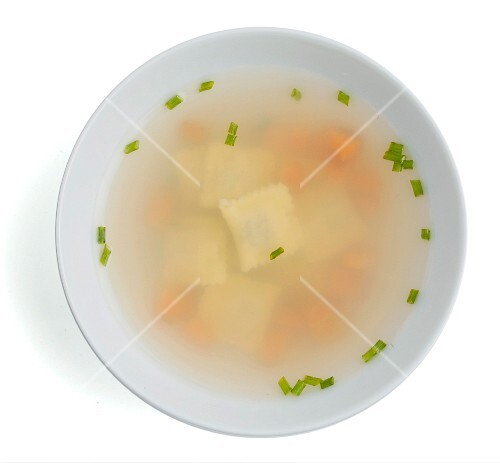 Miso soup with ravioli