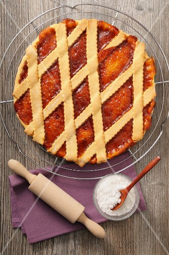 Apricot tart with a lattice topping (seen from above)