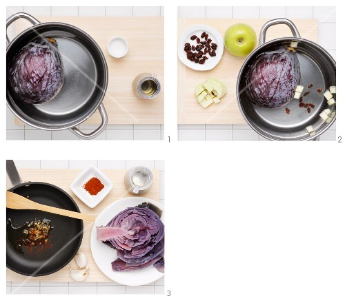 Apple red cabbage with raisins being made
