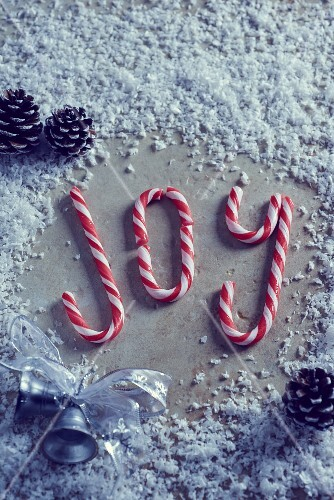 The word 'Joy' written in candy canes