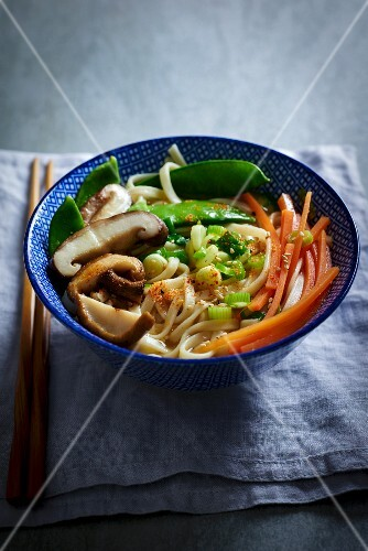 Miso soup with vegetables and udon noodles