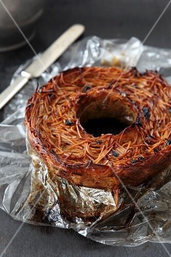 Kigel – traditional Jewish dish eaten on the Sabbath