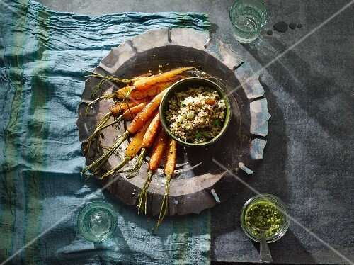 Oven roasted carrots with quinoa