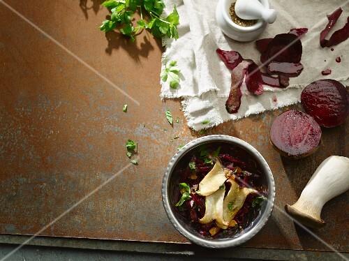 Beetroot salad and fried king trumpet mushrooms