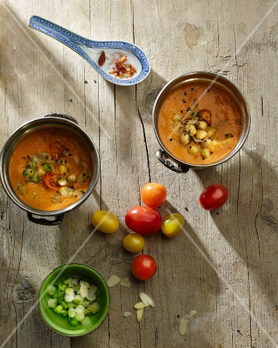 Tomato and coconut soup with chickpeas