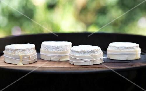 Camembert on a barbecue