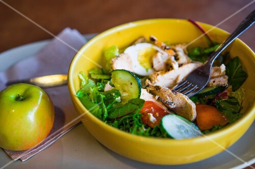 A vegetable salad with grilled chicken