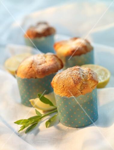 Lemon muffins in polka dot cases