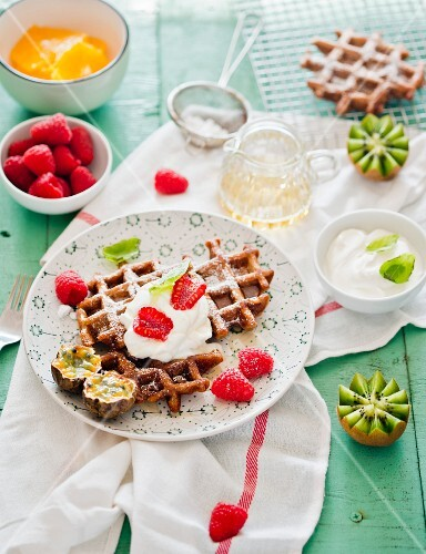 Waffles with fruit and cream