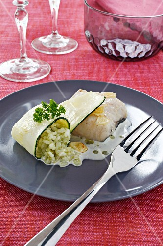 Hake fillet with green rice