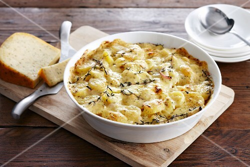 Potato gratin with cheese and fresh herbs
