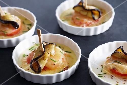 Mini vegetable gratins in tartlet dishes