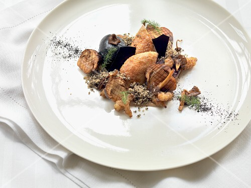 Roasted quail with mushrooms
