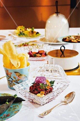 A table laid with a 'surprise' course at the restaurant 'Igniv' in Bad Ragaz, Switzerland