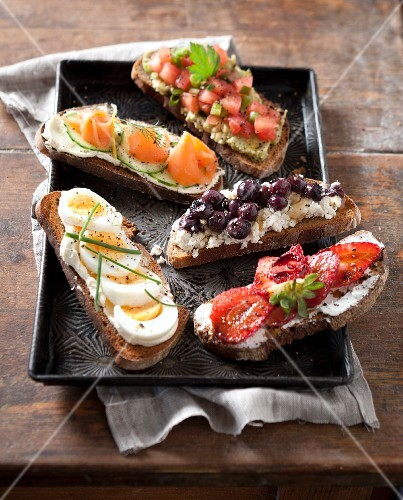 Various open sandwiches