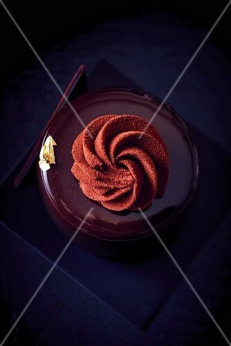 A chocolate cake with cocoa cream