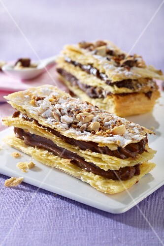 Mille feuilles with chocolate cream and nuts