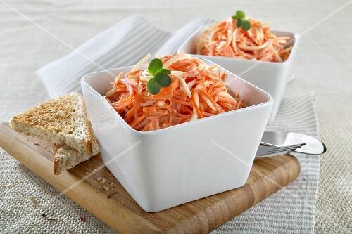 Raw carrot and celeriac salad with toast