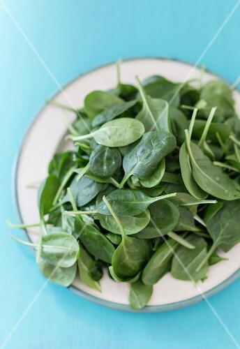 A plate of fresh spinach