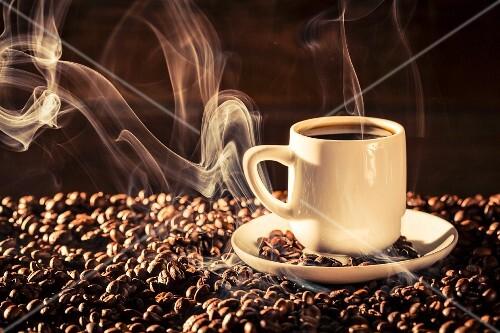 Heißer Kaffee in Tasse auf Kaffeebohnen