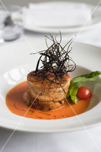 Parmesan aubergine with a cherry tomato sauce
