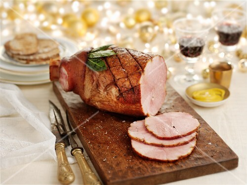 Roast ham with sugar and spices for Christmas dinner