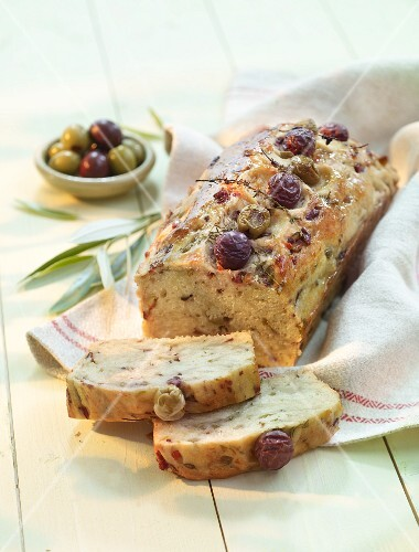 Olive bread with green and brown olives