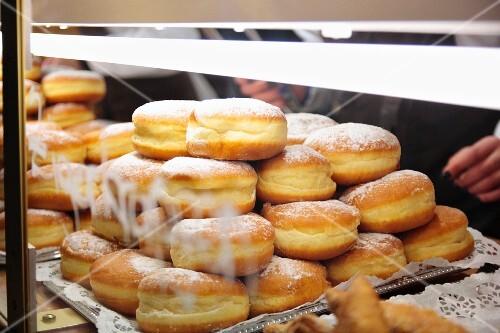 Doughnuts on display at a fair