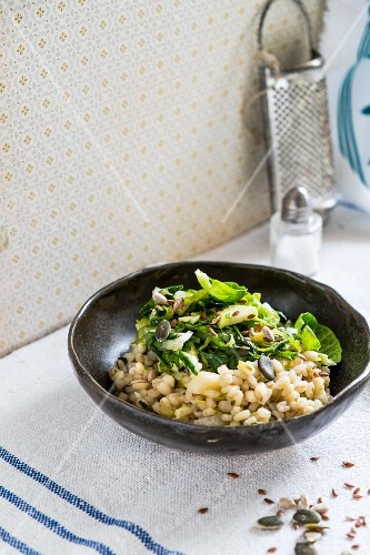 Barley risotto with Brussels sprouts