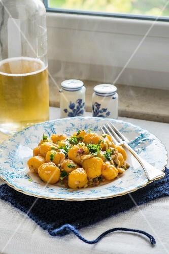 Pumpkin gnocchi with fresh herbs