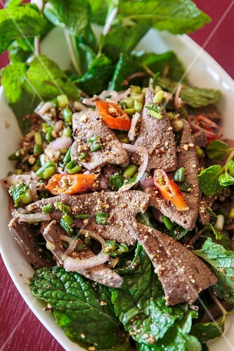 Liver salad with red chilli peppers