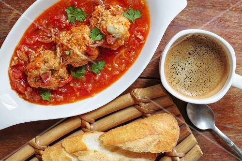 Xin mai meat dumplings served with coffee and baguette
