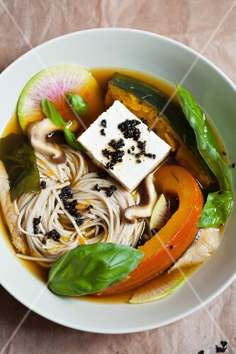 Soba noodle soup with pumpkin, mushrooms and tofu (Japan)