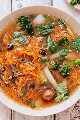 Pho with vegetables and mushrooms (Vietnam)