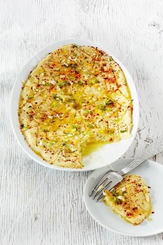 Potato kibbeh in a baking dish
