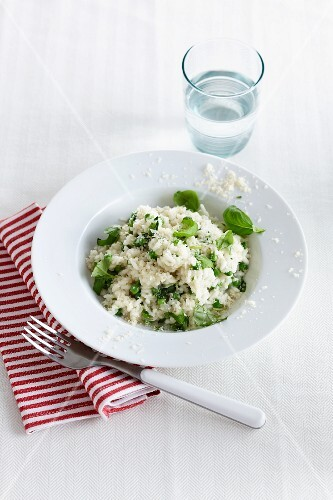 Risotto with basil and Parmesan cheese