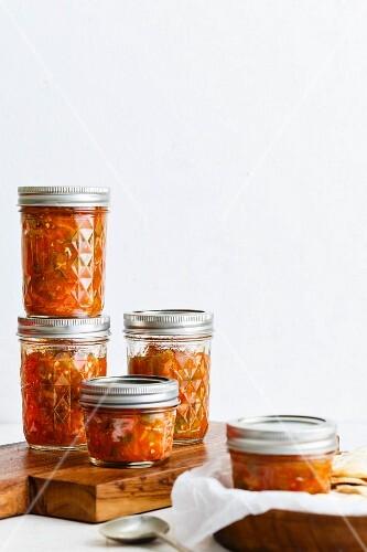 Tomato salsa in screw-top jars