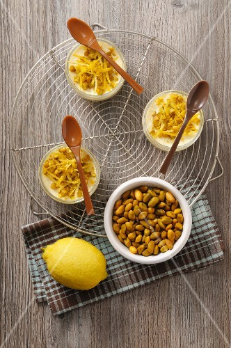 Pistachio nut cream with lemon zest (seen above)