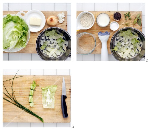 Lettuce and onion soup being made