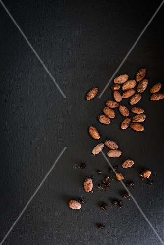Cocoa beans on a grey surface