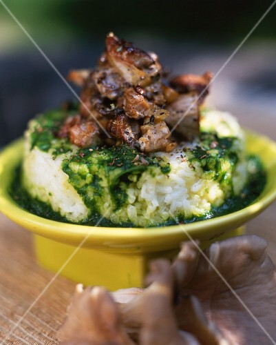 Rice with herb pesto and an oyster mushroom ragout