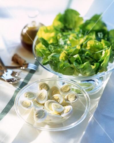 Lettuce and hard-boiled eggs