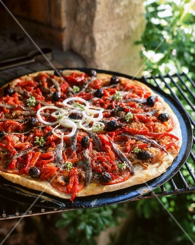 A pizza with peppers, olives and anchovies
