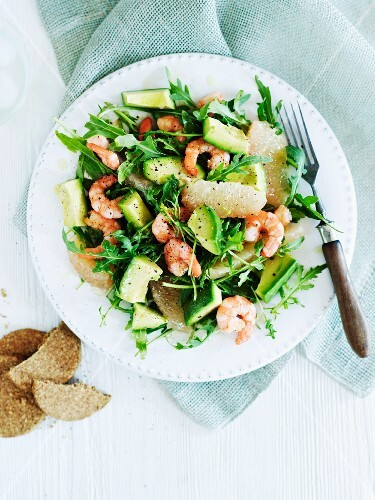 A healthy prawn and avocado salad with grapefruit