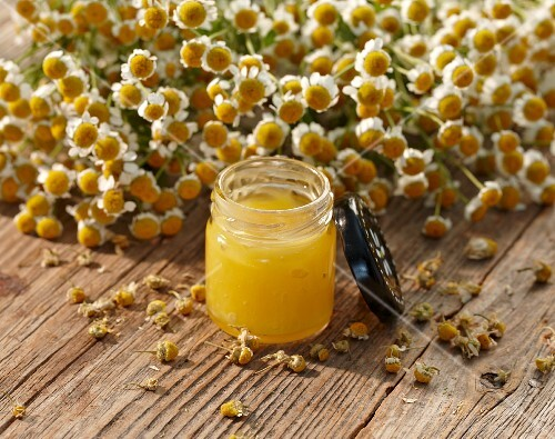 A jar of chamomile ointment