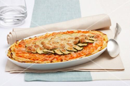 Potato gratin with courgette and mozzarella
