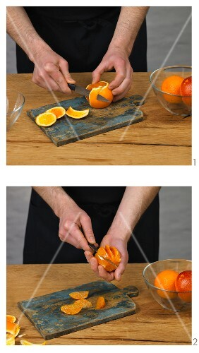 Blood oranges being filleted