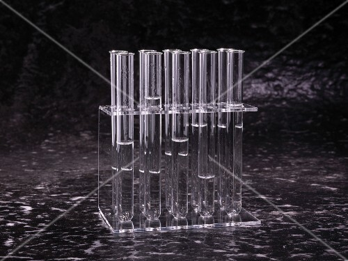 Test tubes with samples of drinking water